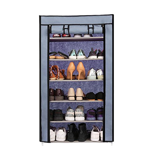3 Tier Storage Tower - evokem 6 Tiers Shoe Rack with Cover 18 Pairs Shoe Storage Organizer Cabinet Portable Shoe Tower Rack Shelf
