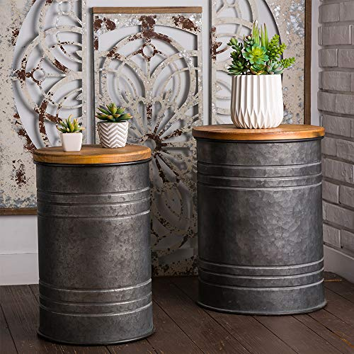 Glitzhome Rustic Storage Bins Metal Stool Ottoman Seat with Round Wood Lid Set of 2 (End Wood Log Table)