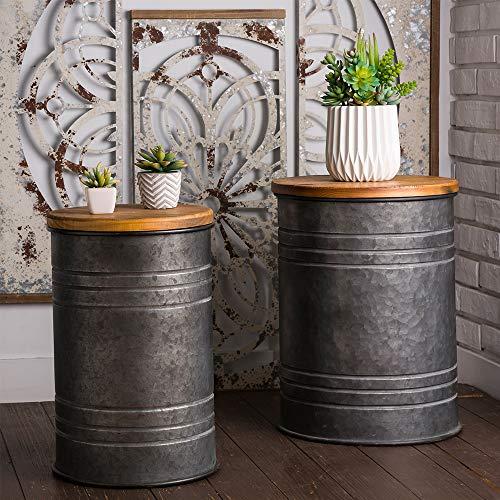 Glitzhome Rustic Storage Bins Metal Stool Ottoman Seat with Round Wood Lid Set of 2 (Metal Bin Galvanized)