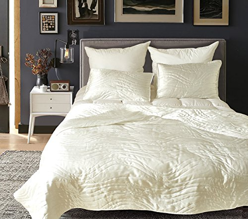 (Lurson 3 Pcs White Quilted Bedspreads Queen Size Silk Lightweight Qulit Coverlet)