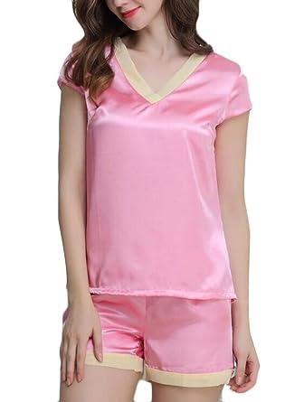 Spirio Men Two Pieces Short Sleeve Satin Silk Shirts ANK Shorts Pajama Set