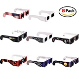 8 Pack Solar Eclipse Glasses, Icesnail Sun Viewing Sunglasses Shades Safety Eye Protection CE & ISO Certified Viewer Filter Blocks Total Eclipses UV Rays Infra-Red White Spectrum Light