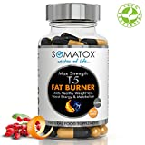 SOMATOX T5 FAT BURNER Ultimate Max Strength Natural Weight Loss • Burn Fat • Slimming Diet Pills • Boost Energy • Thermogenic Supplement Max Strength 3157mg Total Daily Dosage / 90 Veg Caps 30 Day Supply Made UK