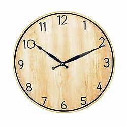 Foxtop 12 inch Silent Decorative Wall Clocks Non-Ticking Vintage Craft Wood-Looking Quartz Wall Clock