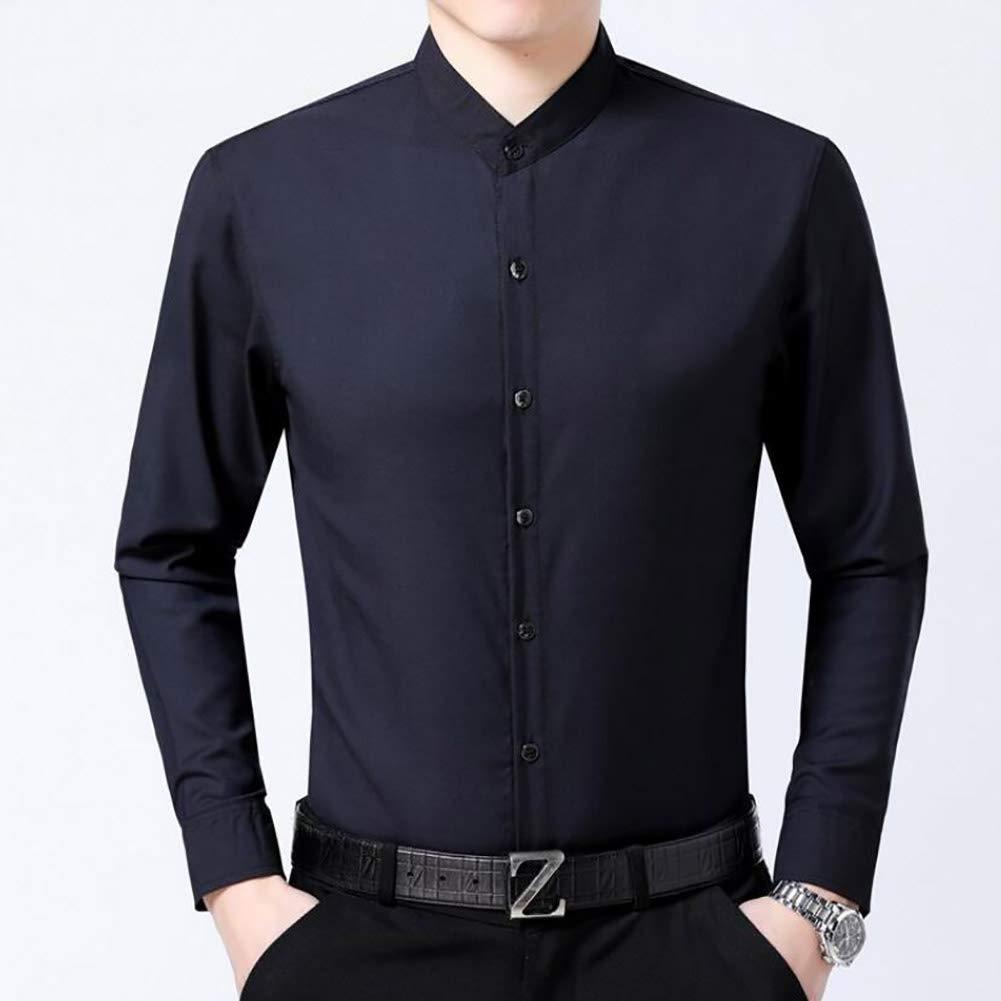 Männer Shirts Männliche Langärmelige Einfarbig Slim Fit männer Stehkragen Social Geschäft Hohe Qualität Casual Shirt (Farbe : B, Größe : M/105/165)