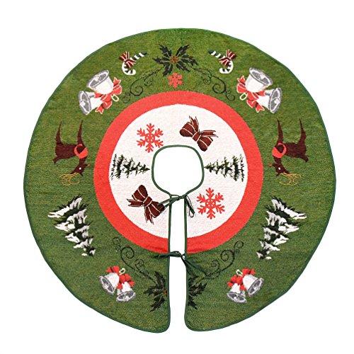 "Primode Tree Skirt, Woven Jacquard 50"" Xmas Holiday Tree Ornaments Decoration"