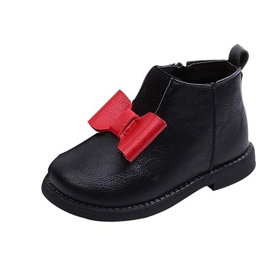 Yahoo Zapatos para niños Más Botas de Terciopelo Botas para la Nieve Botas Botas Invierno Niños Niños Niñas Calzado Bowknot Cuero Botas Cortas Zapatos: ...