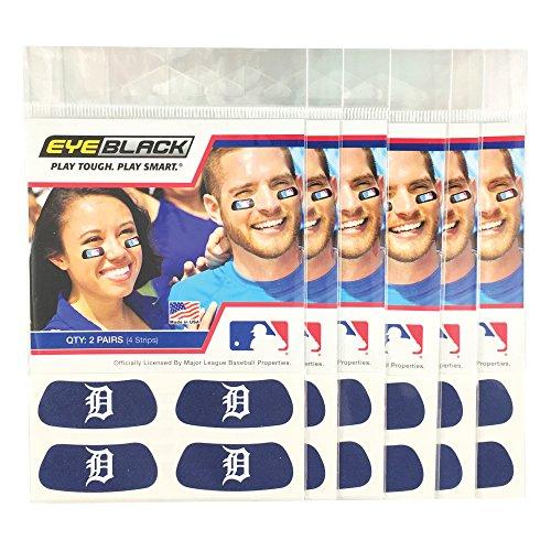 Blue Black Tiger - (24 Strips) Eye Black - Detroit Tigers Blue MLB Eye Black Anti Glare Strips, Great for Fans & Athletes on Game Day