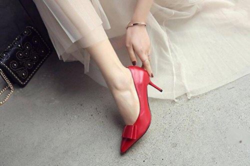 ZXCB Femmes Printemps Rouge Classique Talons Hauts Stiletto Bout Pointu Bow Work Party Chaussures en Cuir Escarpins Red7.5cm ikBhU4