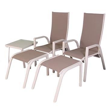 Edenjardi Conjunto de terraza | 2 sillones reclinables + 2 ...
