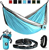 Flagship-X Double Camping Hammock with Tree Straps and survival bracelet ...