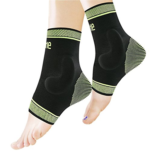 Protle Adjustable Foot socks, Ankle Brace Compression Support Sleeve Silicone Gel, Arch Support - Boosts Recovery from Joint pain, sprain, plantar fasciitis (Pair, (Foot And Ankle Braces)