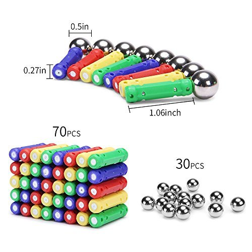 PlayMaty 306 Pieces Magnetic Building and Construction Blocks Toys Magnet Stick Build Toy for Kids Block Stacking Game Include by PlayMaty (Image #1)