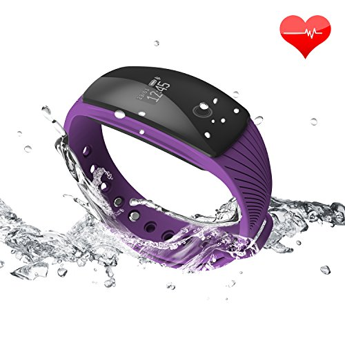 Fitness Tracker RIVERSONG Updated Version Waterproof Heart Rate Tracking Smart Bracelet Pedometer Activity Sleep Monitors Calorie Tracking Wristband for iPhone and Android Phones (Purple1)