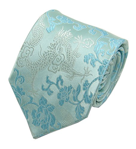 Dad Necktie (Men's Light Blue Silver Engagement Silk Tie Formal Necktie Holiday Gifts for Dad)
