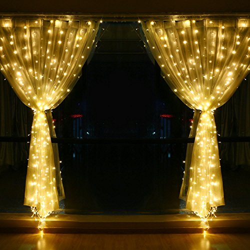 String Lights Qatar : YULIANG Led Curtain Lights 300led 3m3m/9.8Ft9.8Ft Christmas Curtain String Fairy Lights for Home ...
