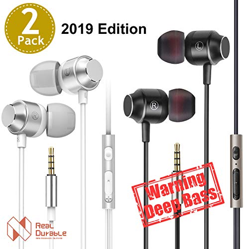 Nana Innovations 3.5mm Wired Earbuds/Earphones/Headphones Noise Isolating with Microphone and Volume Control Powerful Bass for iPhone iPod iPad Samsung HTC Tablets Laptop Mp3 Mp4 Players(Silver+Black)