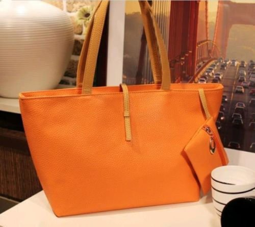 Women PU Leather Tote Shoulder Bags Hobo Handbags Satchel Messenger bag Purse GO, Additional small bag to put your small items or coins in it.(ฺฺOrange)