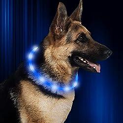 """Collar de perro HiGuard LED, recargable por USB, collar de seguridad para mascotas brillante, ajustable resistente al agua, collar intermitente que hace que sus perros sean visibles y seguros en la oscuridad, Azul, 11""""-27"""""""