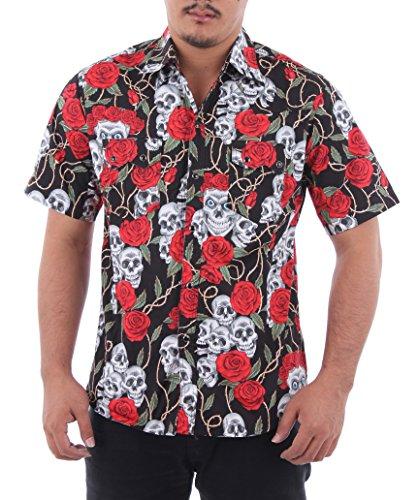Hawaiian-Rockabilly-Mens-Short-Sleeve-Shirt-Cowboy-Western-Skull-and-Roses