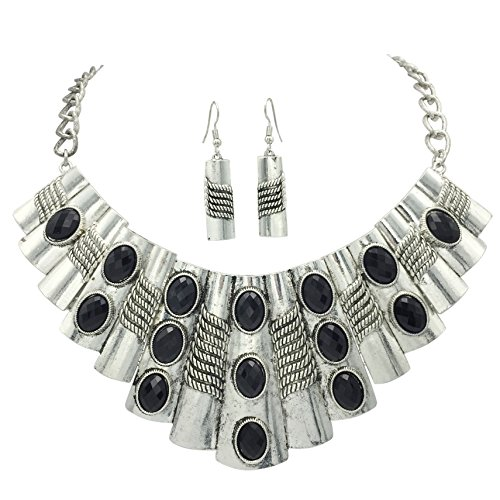 Gypsy Jewels Large Abstract Bib Statement Silver Tone Boutique Necklace & Earrings Set -Assorted Colors (Black Silver Tone) Beaded Silver Tone Earrings