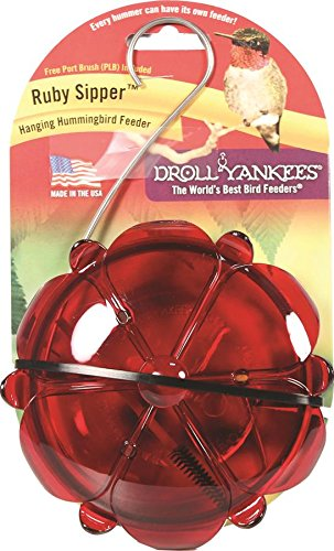 Droll Yankees Hummingbird Feeder, Outdoor Feeder with Hanger, 5 Oz., 3 Perches, RS-3HC, (Droll Yankees Hummingbird Feeder)