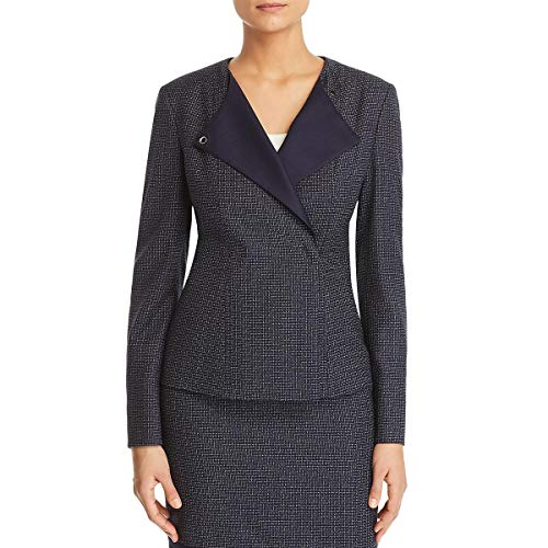 Hugo Boss BOSS Womens Crepe Office Wear Collarless Blazer Navy 12