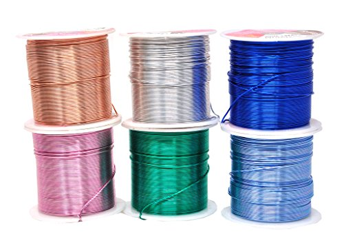 Mandala Crafts Anodized Aluminum Wire for Sculpting, Armature, Jewelry Making, Gem Metal Wrap, Garden, Colored and Soft, Assorted 6 Rolls (20 Gauge, Combo 7)