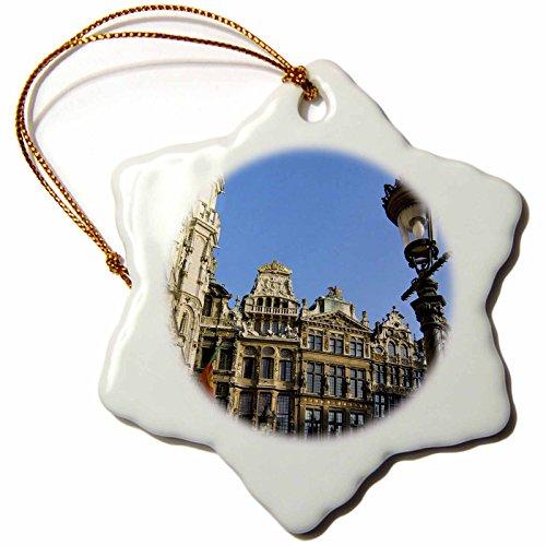 3dRose ORN_70278_1 Belgium, Brussels, Grand Place, Guild Houses EU04 JEN0026 Jim Engelbrecht Snowflake Porcelain Ornament, 3-Inch Brussels Grand Places House