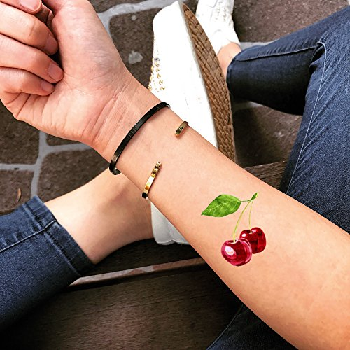 Cherry Tattoo (Double Cherry Temporary Fake Tattoo Sticker (Set of 2) - TOODTATTOO.COM)