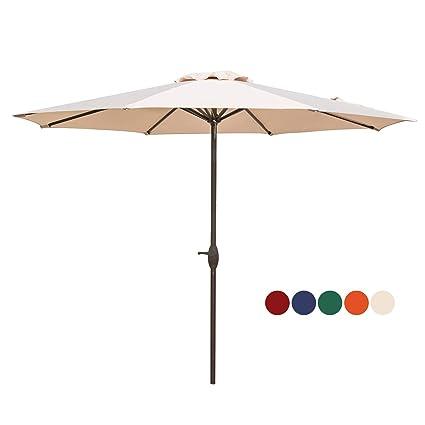 b42dbad3e299f Amazon.com : HASLE OUTFITTERS Patio Umbrella 9FT Table Umbrella Outdoor  Market Umbrella with Tilt Adjustment and Crank Lift System Beige : Garden &  Outdoor
