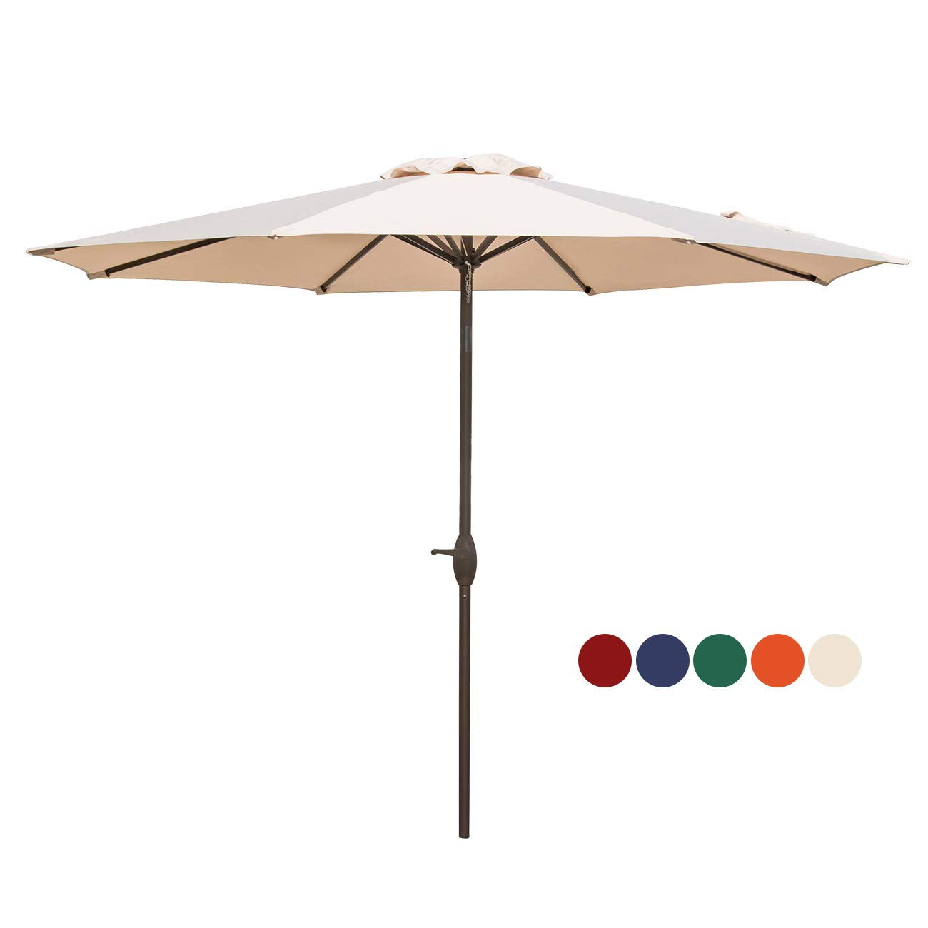 HASLE OUTFITTERS Patio Umbrella 9FT Table Umbrella Outdoor Market Umbrella with Tilt Adjustment and Crank Lift System Beige