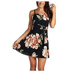 Inkach Women S Summer Dress Casual Floral Printing Sleeveless Backless Mini Ruffles Princess Dresses M Black