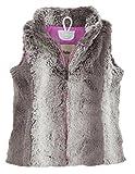Hatley Little Girls' Faux Fur Vest Horse Flower, Gray, 2T