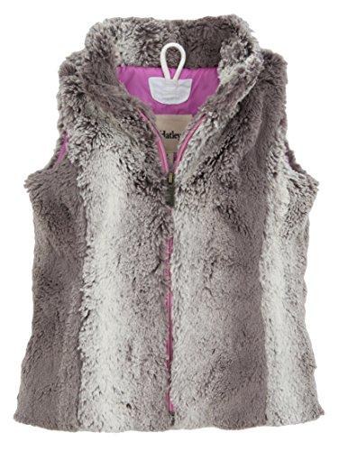 Hatley Little Girls' Faux Fur Vest Horse Flower, Gray, 2T by Hatley
