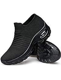 Women's Walking Shoes - Sock Sneakers Slip on Mesh Platform Air Cushion Athletic Shoes Work Nurse Comfortable