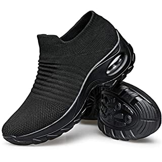 YHOON Women's Walking Shoes - Sock Sneakers Slip on Mesh Platform Air Cushion Athletic Shoes Work Nurse Comfortable Black 5.5