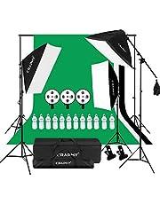 2000W Kit Illuminazione Softbox, Kit Professionale Studio Fotografico con 3 Softbox, 2x3M Sfondi e Supporto per Sfondo, 3 Treppiedi, 12 LED Lampada 45W e Borsa Portatile per Fotografia e Video