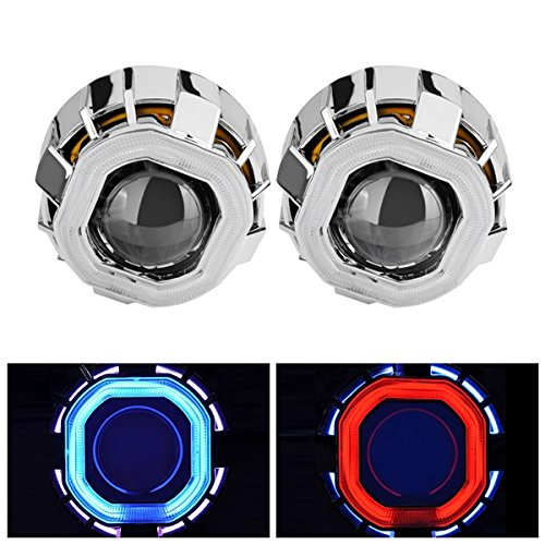 Color : Blue+Red WCHAOEN 2.5 Inch HID Lights Motorcycle Car Double Optical Lens With Double Angel Eyes HB4 H7 H4 New car light