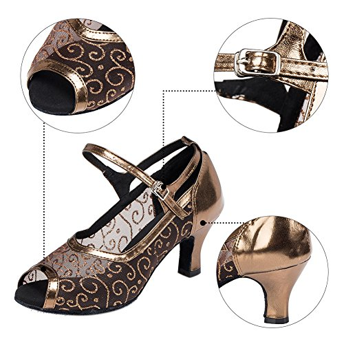 Haodasi Women Lady Social Latin Dance Shoes Hollow Breathable Fish-Mouth Dancing Shoes T1FK90xR