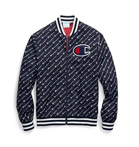 Champion LIFE Men's Satin Baseball Jacket, Diagonal Script Navy, Large ()