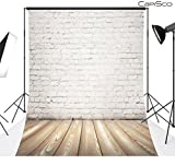CapiSco White brick wall 5X7FT Indoor Studio Photography Background Computer-printed Poly Fabric Seamless Backdrop MT05
