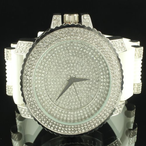 Style Bling Watch (White Brilliant Jojino Ice Master King Bling Silicon Bullet Style Men Swag Watch)