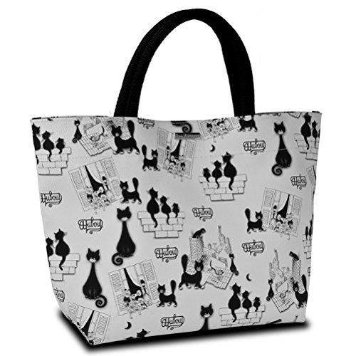 Dubout gatto Piccola borsa per la spesa, colore: bianco
