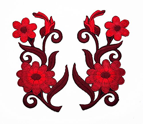 PP Patch Set 2 Red Gerbera Daisies Pair Flowers Floral Bouquet Boho Patch for Bags Jacket T-Shirt Embroidered Sign Badge Costume DIY Applique Iron on Patch