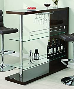 Mini bar with glass shelving