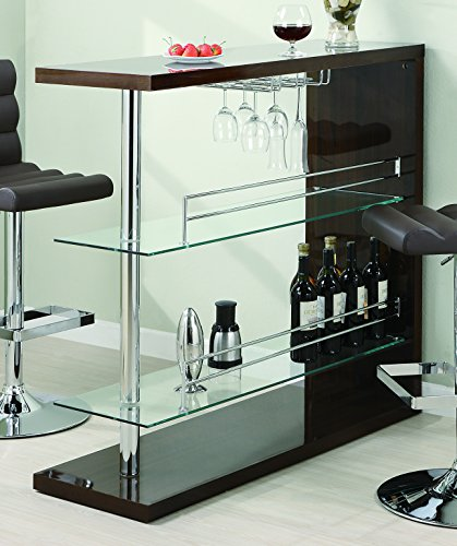 Rectangular 2-Shelf Bar Unit with Wine Holder Glossy Cappuccino, Chrome and ()