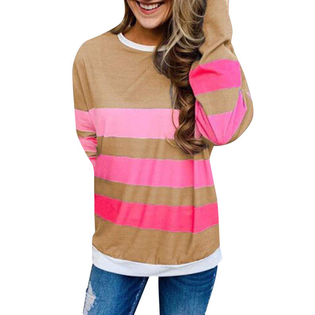 Jushye Crew Neck Blouse,Women Comfy Round Neck Color Block Stripe T-Shirt Long Sleeve Casual Loose Tunic Tops Pullover (XL, Khaki)