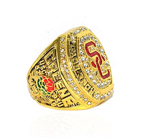 UNIVERSITY OF SOUTHERN CALIFORNIA (Jalen Greene) USC 2017 ROSE BOWL CHAMPIONS Collectible High Quality Replica NCAA Football Gold Championship Ring with Cherrywood Display Box