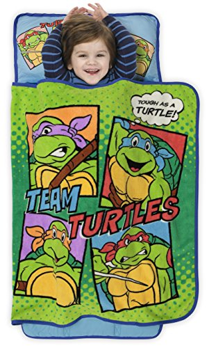 Teenage Mutant Ninja Turtles Toddler Nap Mat - Includes Pillow and Fleece Blanket - Great for Boys and Girls Napping at Daycare, Preschool, Or Kindergarten - Fits Sleeping Toddlers and Young Children